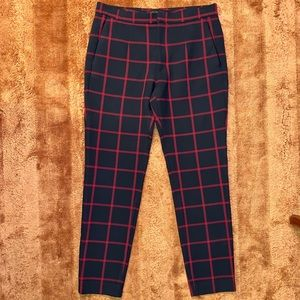 Women's Zara Navy Blue Red Windowpane Pant Sz L